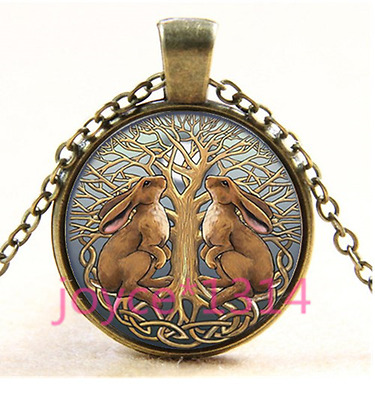 Celtic Rabbit Tree of Life Cabochon bronze Glass Chain Pendant Necklace TS-3710
