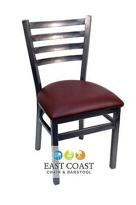 New Gladiator Clear Coat Ladder Back Metal Restaurant Chair w/ Wine Vinyl Seat