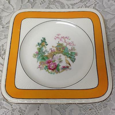 Vintage, Rare, Myott, England,Variant, Yellow Trim Gaudy Blue Willow, 8in Plate