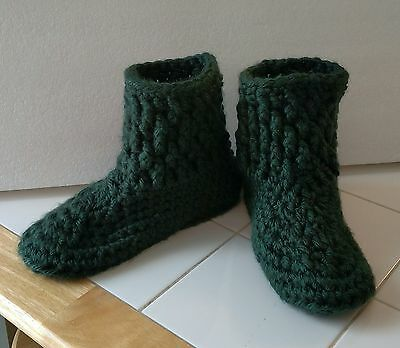 Ladies Hand Crocheted House Slippers.  Acrylic Yarn. Dk Green  8-9 with Stretch.