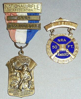 Vintage -National Rifle Association- NRA Shooting Medal Lot - Club Trophy/50 Ft.