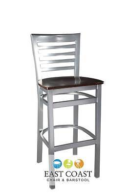 New Gladiator Silver Full Ladder Back Restaurant Bar Stool with Walnut Wood Seat