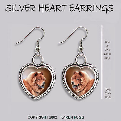 CHOW CHOW DOG Red - HEART EARRINGS Ornate Tibetan Silver