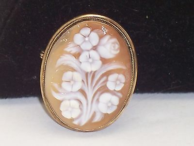 Vintage Carved Flower Bouquet Cameo Brooch Pendant Combination