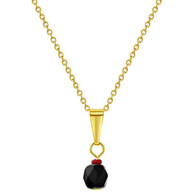 18k Gold Plated Simulated Azabache Evil Eye Protection Necklace Pendant 19""