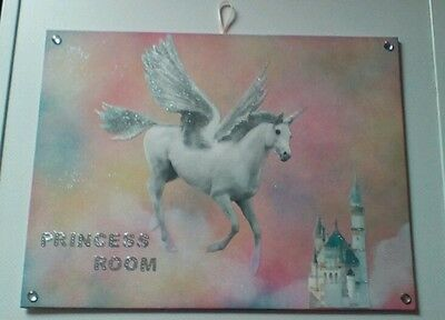 large princess unicorn Pegasus castle fairy tale glitter wall bedroom picture