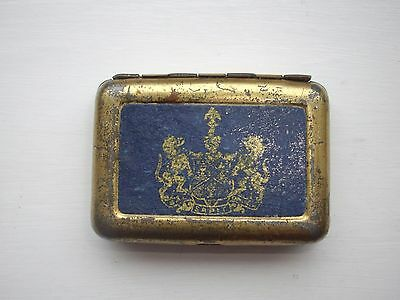 ANTIQUE  TIN  VESTA CASE with COAT OF ARMS