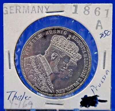 1861 A Germany States Prussia Thaler Silver Coin