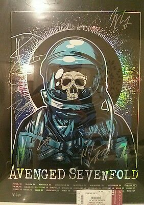 avenged sevenfold SIGNED limited edition UK poster. 33/40 Cardiff....HOLOGRAPHIC