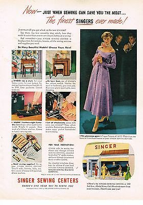 1949 OLD MAGAZINE PRINT AD, Singer Sewing Machines