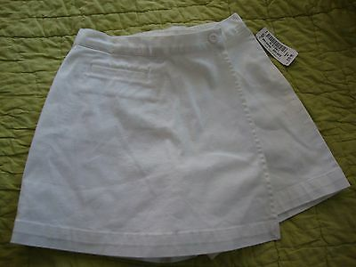 LL Bean Girls white cotton skort NEW with Tags Size 10