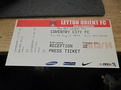 Leyton Orient V Coventry City  Official Reception Press Match Ticket