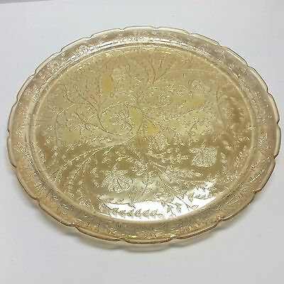 Jeannette Glass Carnival Floragold Louisa Tray 13.5 Inches