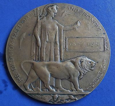 Genuine Full size World War One Death Plaque/dead mans penny George Horne