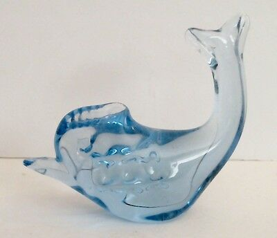 Blue Glass Dolphin Paper Weight Figurine Polished Base Paperweight EUC