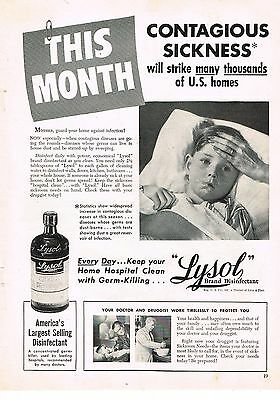 1949 OLD MAGAZINE PRINT AD, Lysol Disinfectant