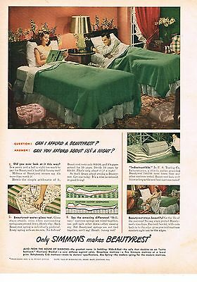 1949 OLD MAGAZINE PRINT AD, Simmons Beautyrest
