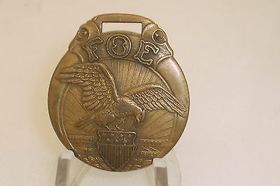 Vintage FOE Fraternal Order of the Eagles Brass Key Watch Fob