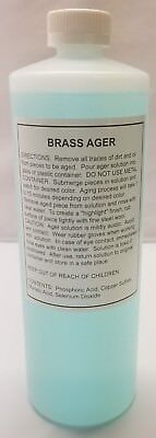 32 Ounce BRASS AGER Darkening Solution antique vintage old metal patina rustic