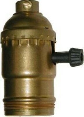 On-Off Turn Knob Lamp Socket with shell - Brass - vintage antique old reproducti