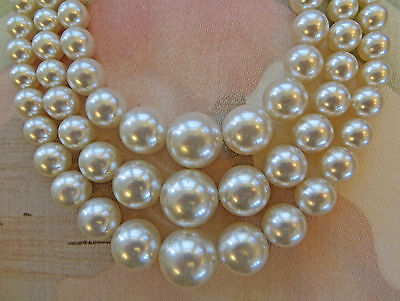 VINTAGE GRADUATED 3 STRAND GLASS PEARL necklace 12-16""