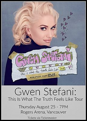 """GWEN STEFANI """"THE TRUTH FEELS LIKE TOUR"""" 2016 VANCOUVER CONCERT POSTER- No Doubt"""