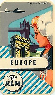 Holland Klm Royal Dutch Airlines To Europe Vintage Luggage Label