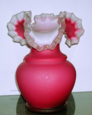 Mt Washington Pink Cranberry Large Ruffle Vase 12' Tall