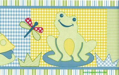 Froggy Friends Turtle Dragonfly Lilly Pad Frogs Kids Bath room Wallpaper Border