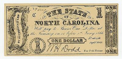 1862 $1 The State of NORTH CAROLINA Note - CIVIL WAR Era