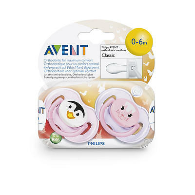 New Philips AVENT BPA Free 0-6 Months 2 Pack Animal Face Pacifier - Girl