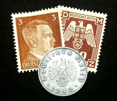 Authentic German Rare Coin and Stamps WORLD WAR 2