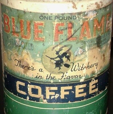 Vintage BLUE FLAME COFFEE 1 lb Can - w/ WITCH - Rare tin grind