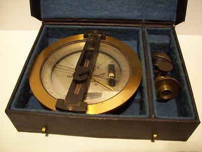 Vtg  Brass  SURVEYORS COMPASS in the Original Case ~ MADE IN FRANCE ~for Transit