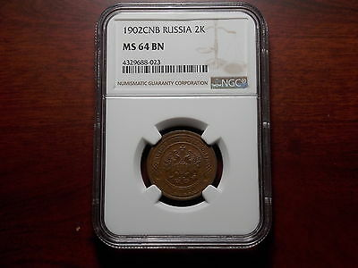 RARE 1902 Russia 2 kopeck copper coin NGC MS-64 Key Date