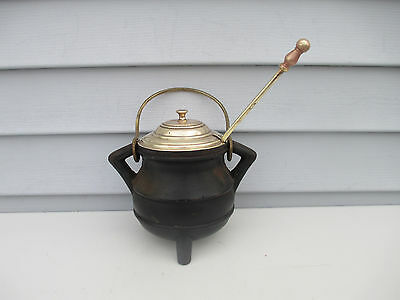 Vintage Cast Iron & Brass Fireplace Fire Starter Oil Pot with Wand Wood Stove