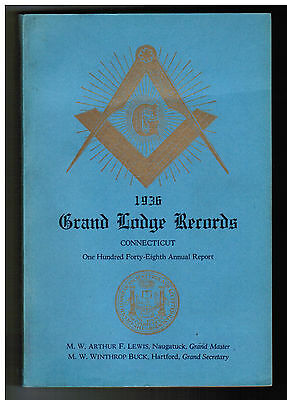 1936 GRAND LODGE OF CONNECTICUT Records and 148th Annual Report LOADED w/ Facts!