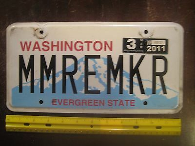 License Plate, Washington, 2011, Personalized Vanity: MMREMKR, Memory Maker