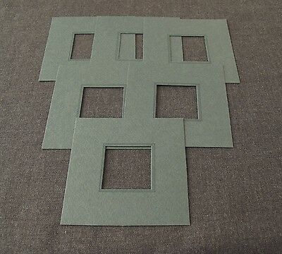 6 Vintage 70's Grey Stripped Rim Mats For Picture Frame   2922