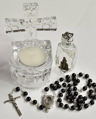 Cross Holy Water Font Gift Set - Including a Bottle of Lourdes Holy Water