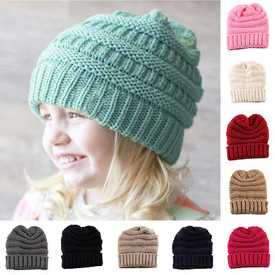 Kids Baby Boys Girls Wool Knitting Warm Winter Beanie Hat Crochet Ski Ball Cap