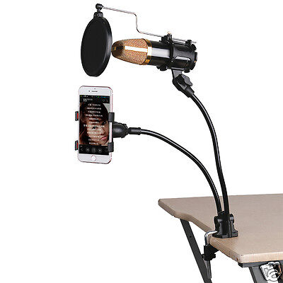 Microphone Mic Stand Phone Clamp Mount Holder for Studio Recording Studio