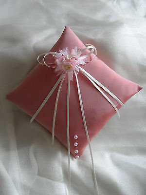 Hand Crafted Pink & Ivory Wedding Ring Cushion Pillow