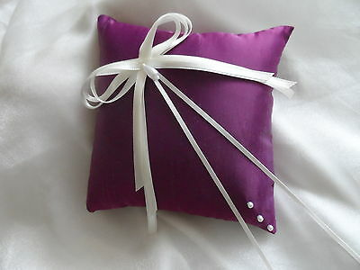 Hand Crafted Purple & Ivory Wedding Ring Cushion