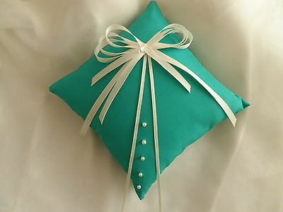 Jade & Ivory Satin Wedding Ring cushion Hand Crafted