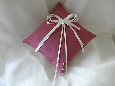 Pink & Ivory Satin Wedding Ring Cushion Hand Crafted