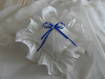Hand Crafted Ivory & Royal Blue Satin Wedding Ring Cushion