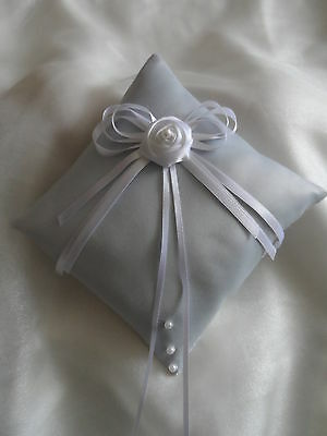Hand Crafted Blue & White Satin Wedding Ring Cushion
