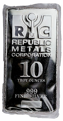 Republic Metals Corporation -RMC 10 Troy Oz .999 Silver Bar *New Style* SKU34147