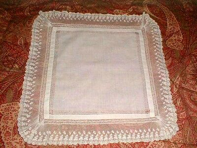 Mrs. Tyler's NET LACE HANDKERCHIEF Drawnwork TAMBOUR Embroidery ANTIQUE Ruching